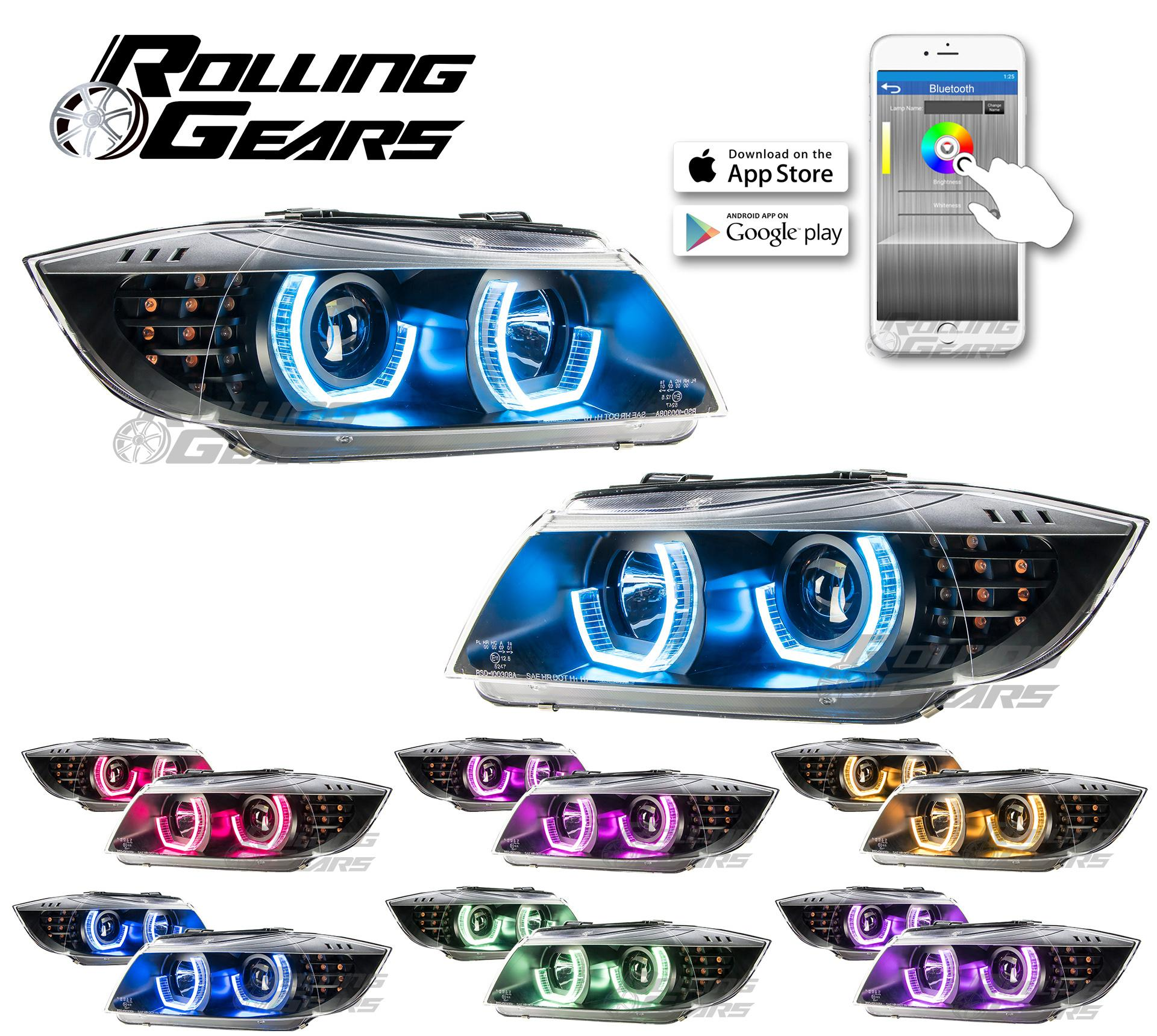 RGB Color Angel Eyes Projector Headlights For BMW E90/1