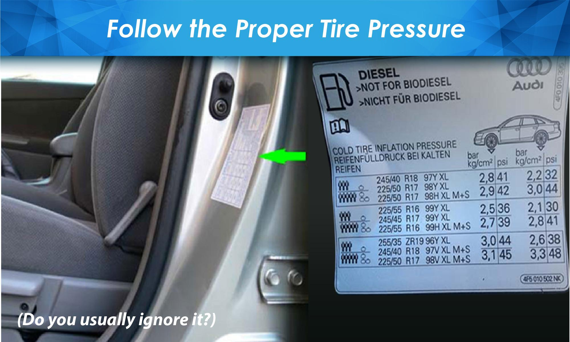 It will provide you very useful information about the tire like the recommended tire size and the proper tire pressure whether driving with heavy loads or ... & How to know the Proper Tire Pressure