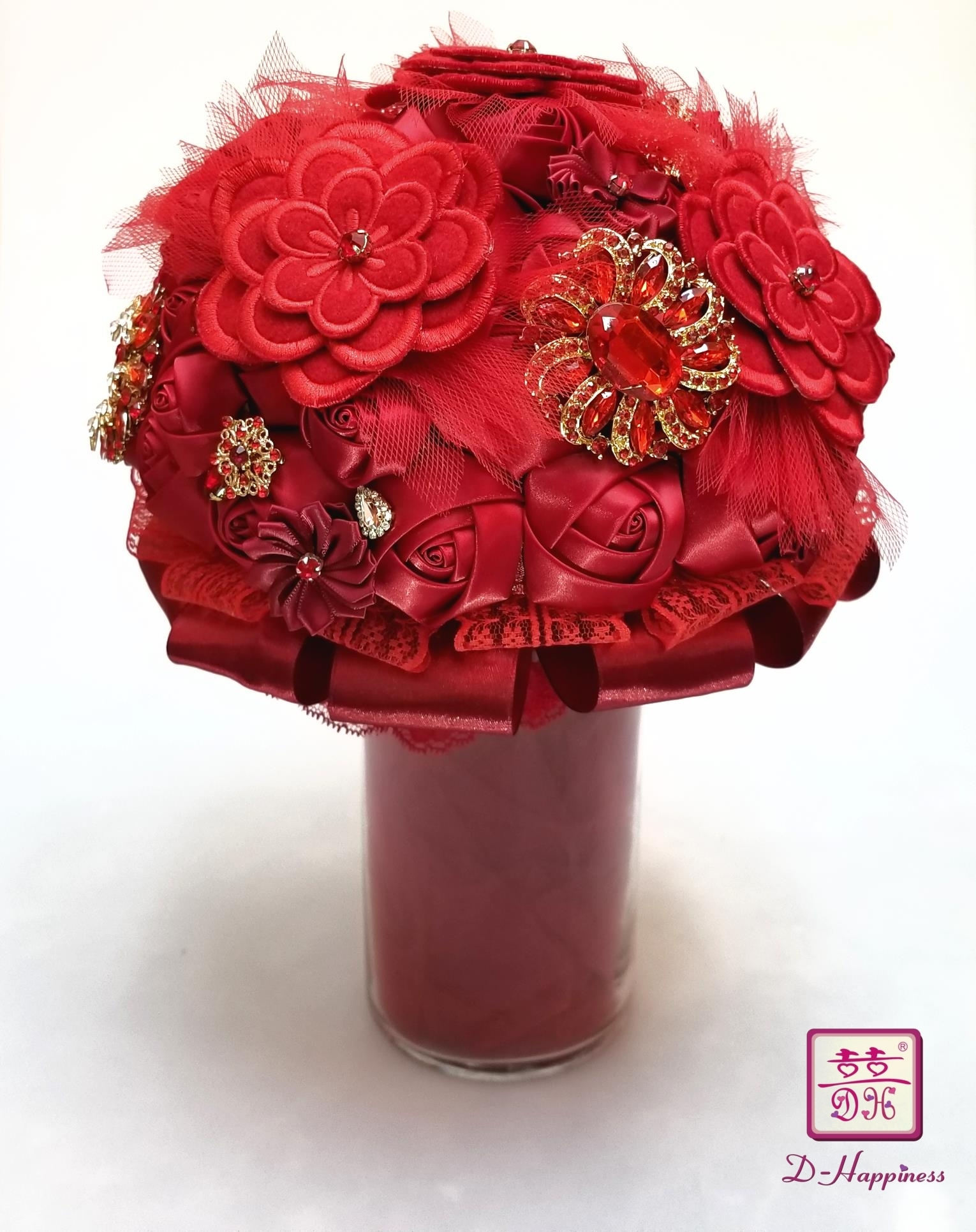 Red Brooch Satin Flower Bouquet By D Happiness