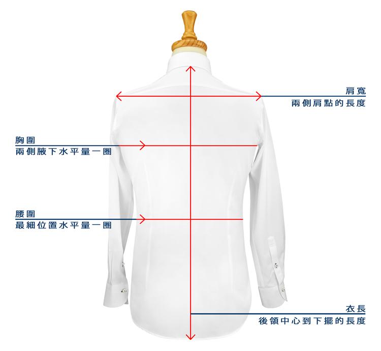 商務襯衫西裝襯衫的版型後背圖