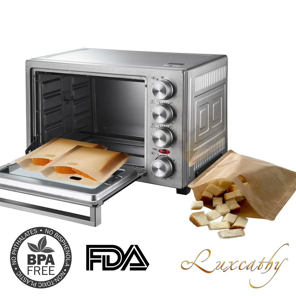 8 Pack Toaster Bags Reusable Teflon Sandwiches Pockets For Microwave Oven Use Fda Lfgb Roved 6 3 X 7 1