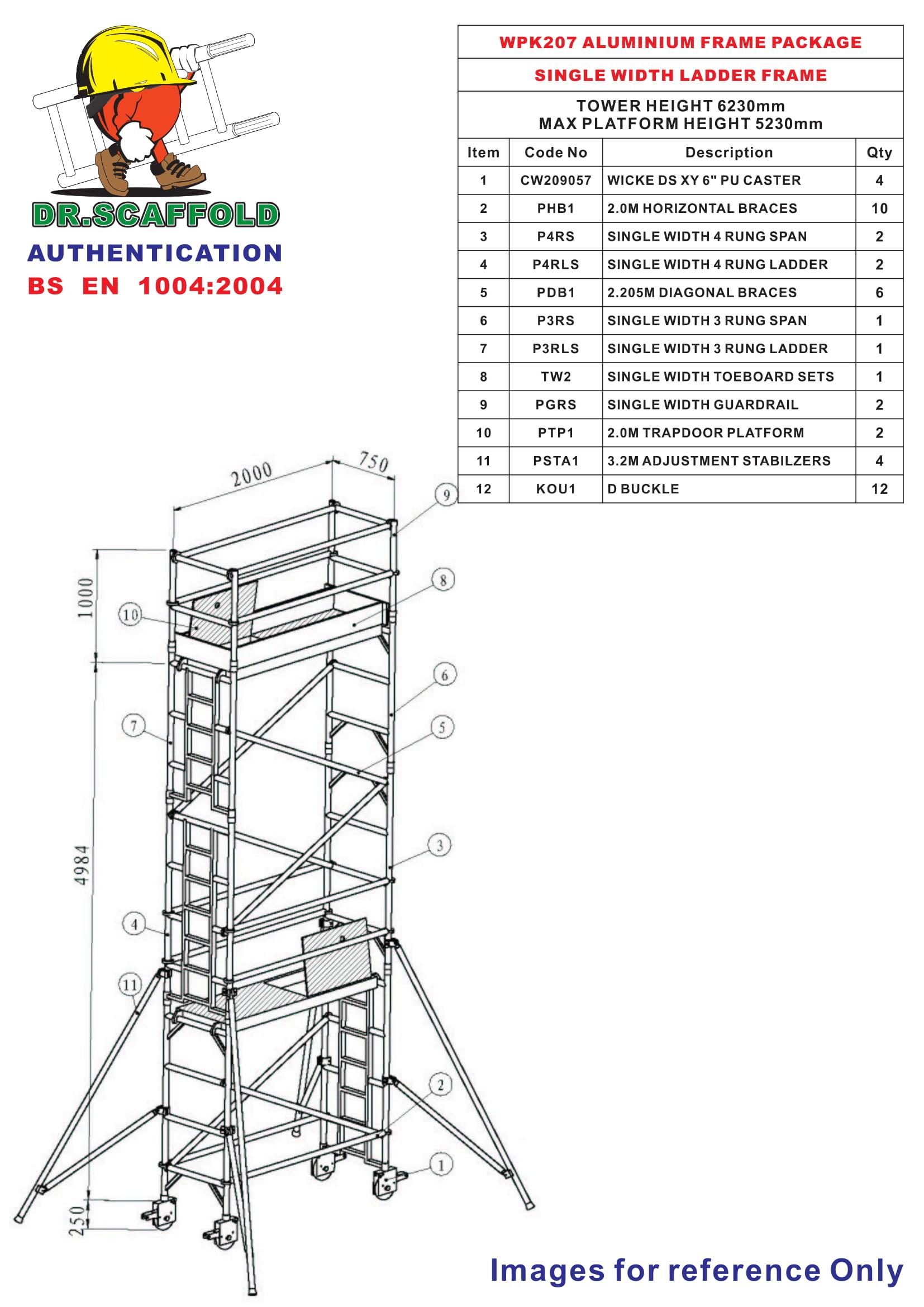 Dr Scaffold 299m X 2m 750mm Width Aluminium Trapdoor Schematic