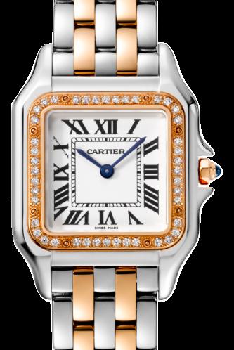 Cartier卡地亞手錶款式-PANTHÈRE 美洲豹系列玫瑰金+精鋼.中型