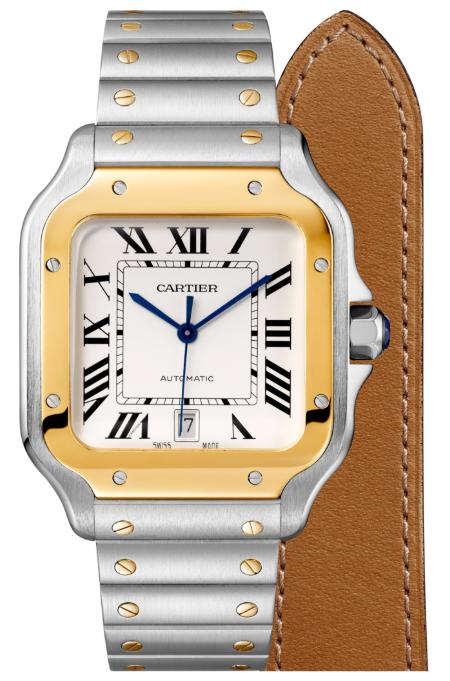 Cartier卡地亞手錶款式-SANTOS 山度士系列 黃K金+精鋼.大型