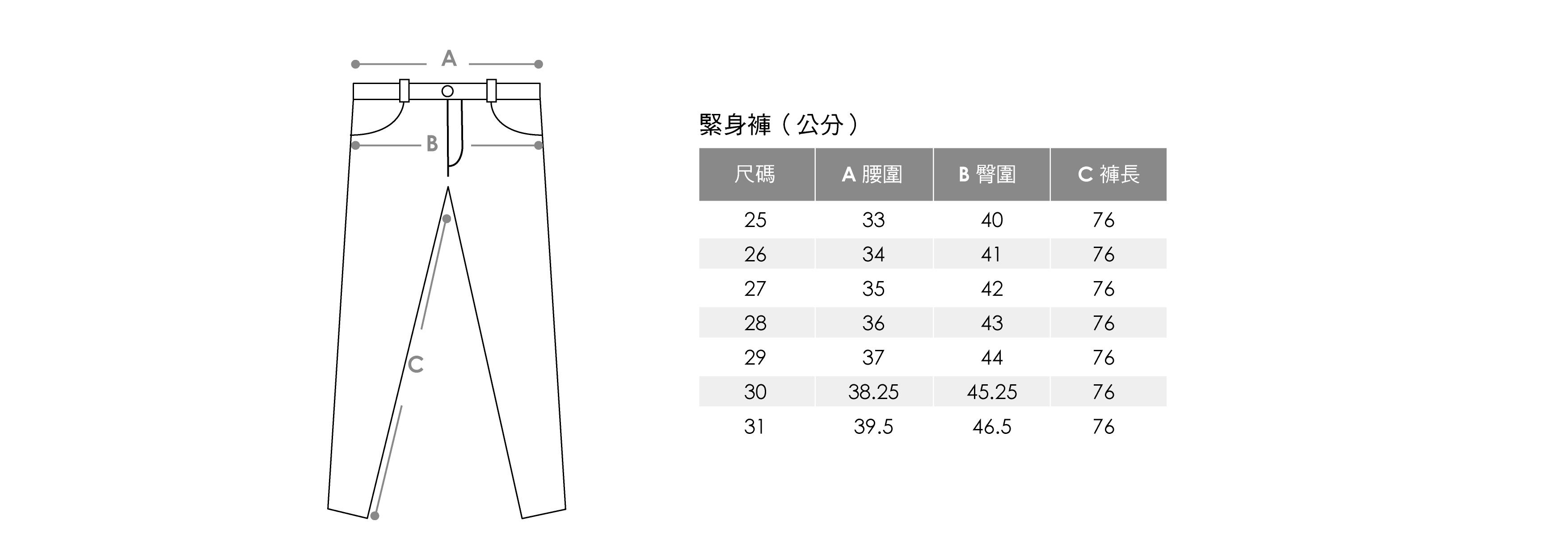 緊身褲尺寸表