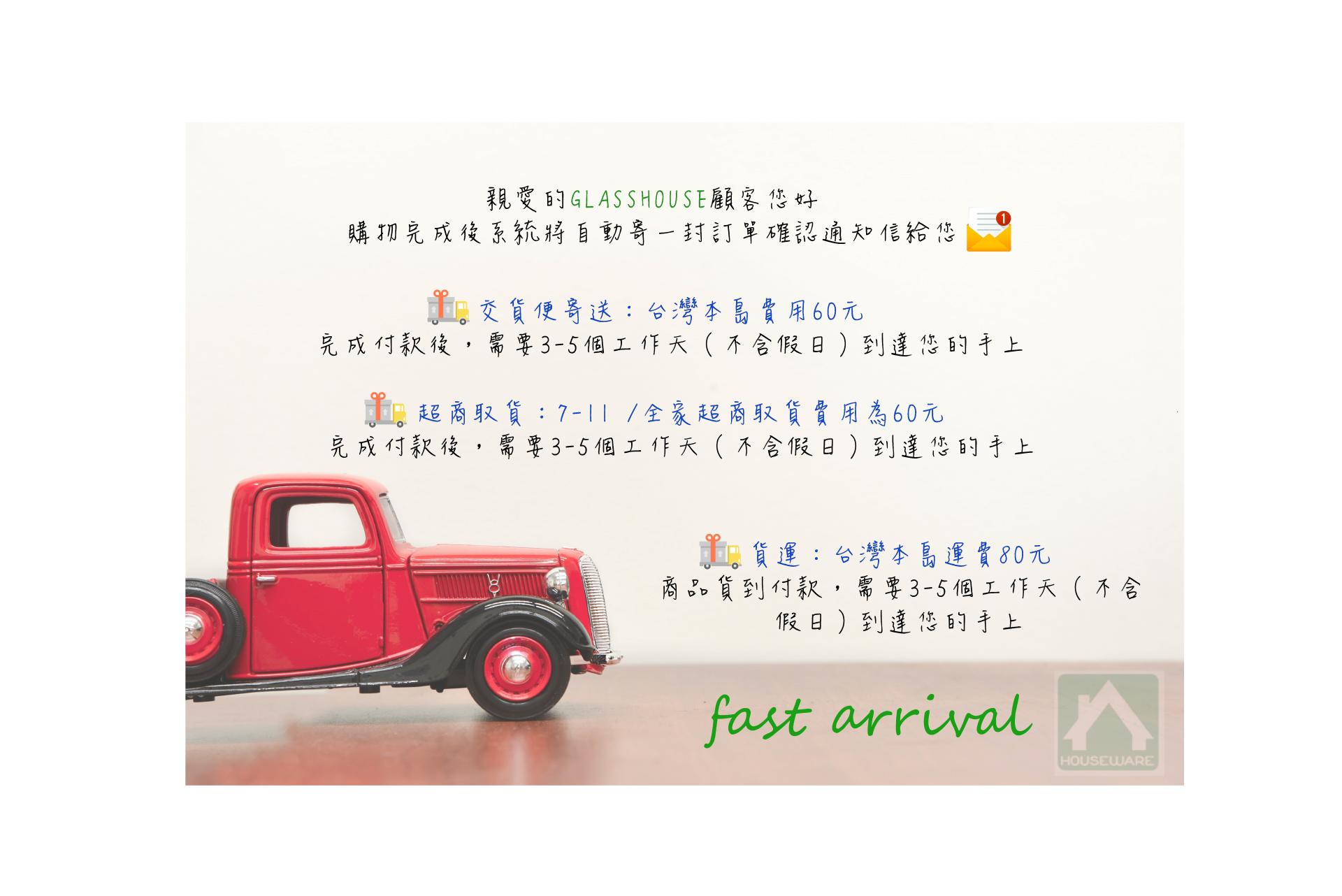 GLASSHOUSE,運送方式,超商取貨,交貨便寄送,貨運