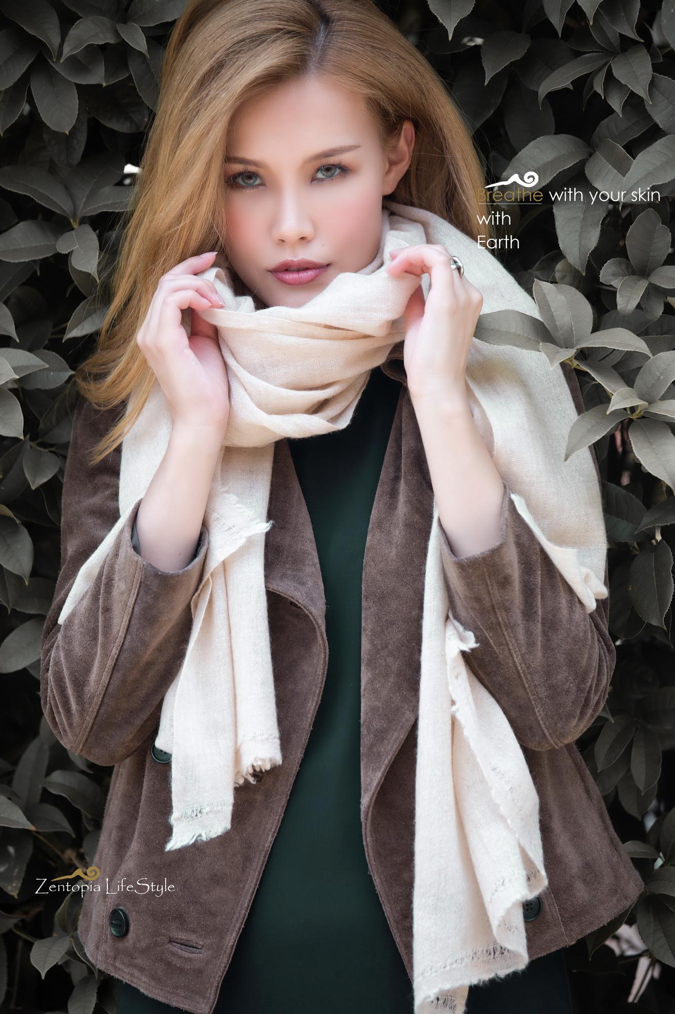 zentopia品牌經典,原色無染100%cashmere圍巾