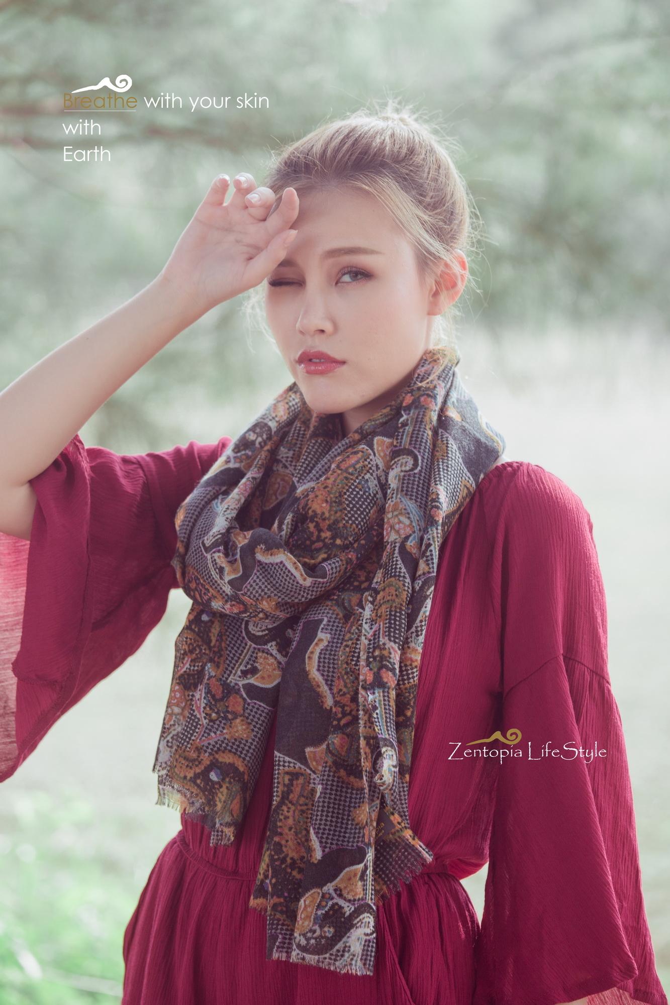 zentopia100%cashmere喀什米爾圍巾