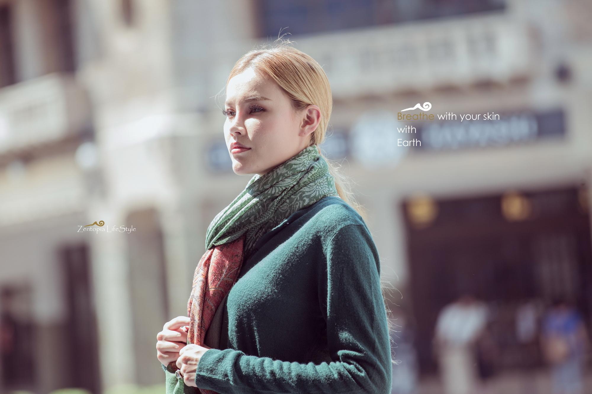 zentopia喀什米爾圍巾繽紛花紋