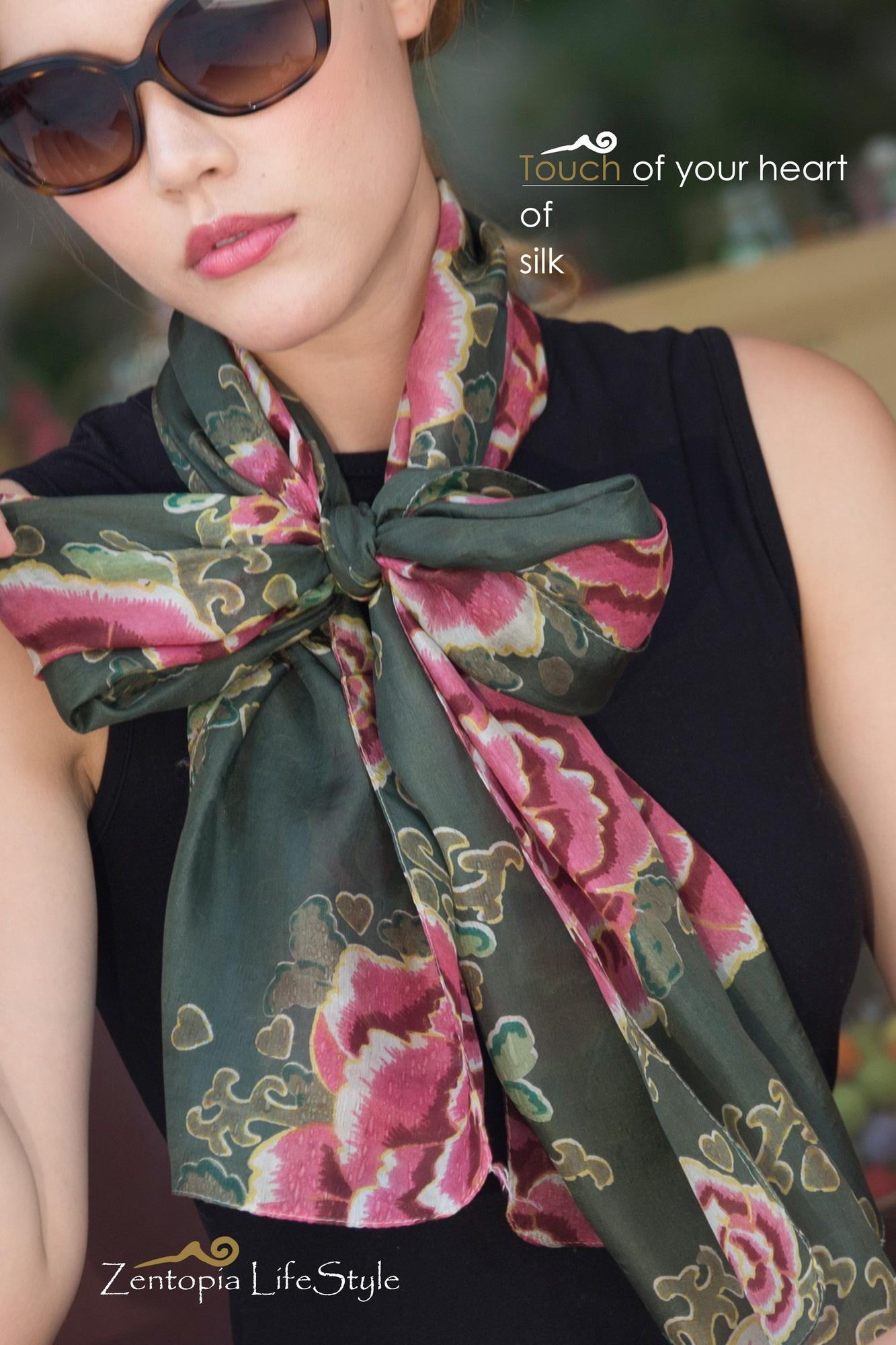 zentopia100%silk純蠶絲絲巾