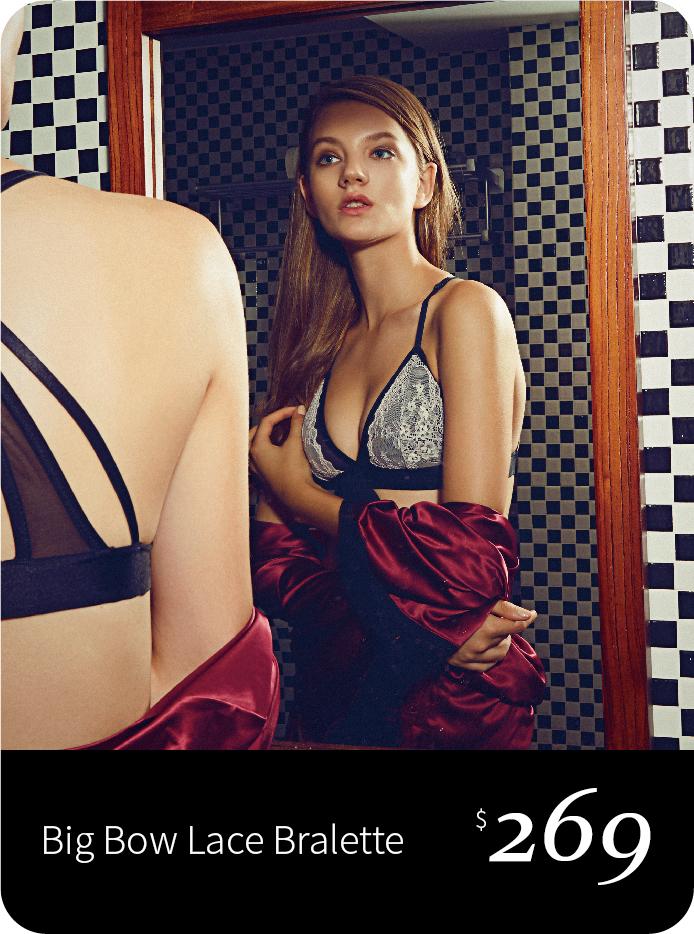 黑色三角杯粉紅lace bralette, 胸前大蝴蝶結, 美背設計