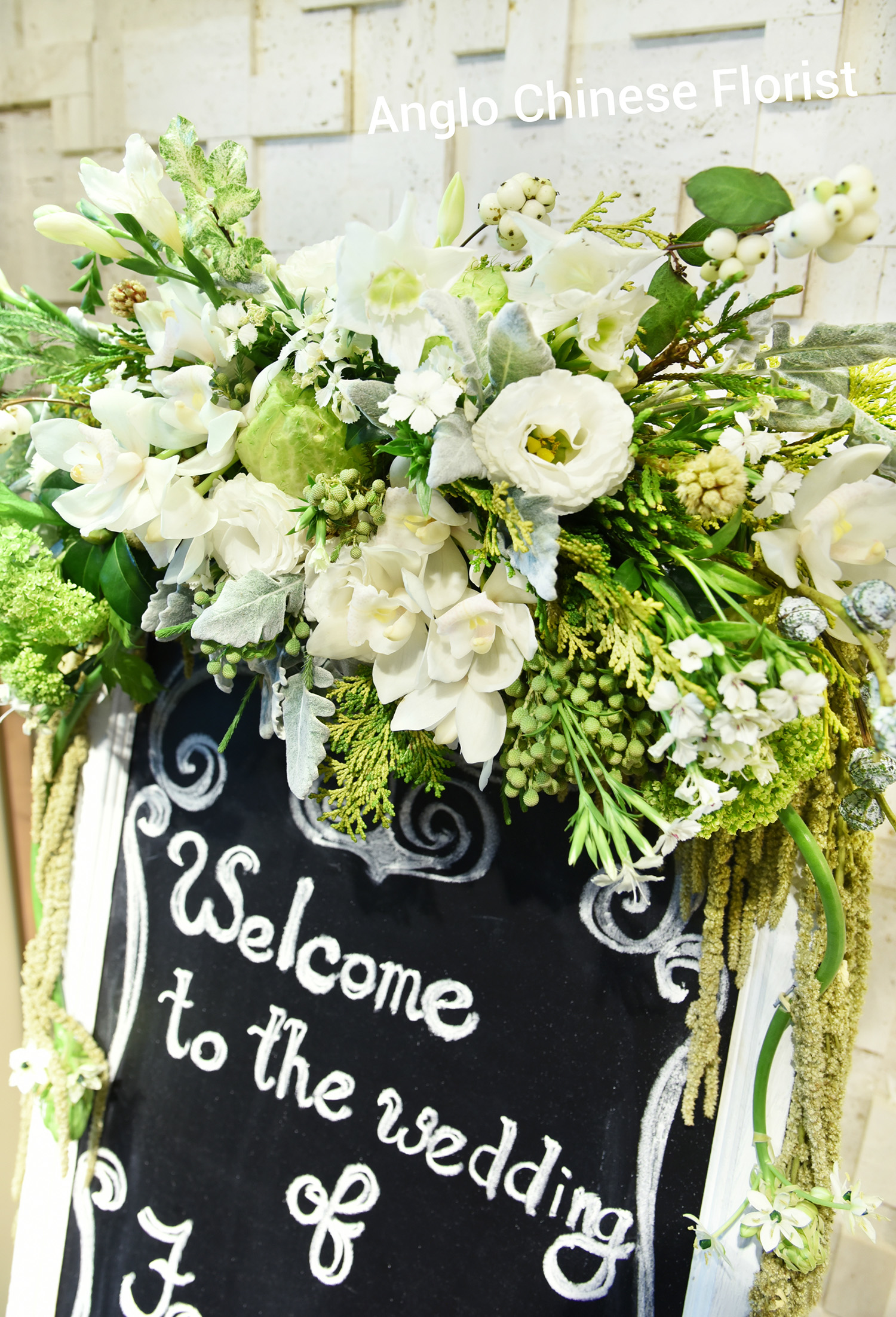 Garden Wedding decoration, blackboard signage design tailor made for client