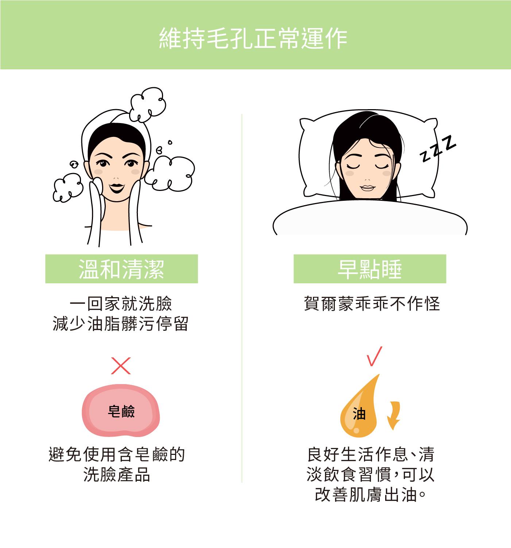 溫和清潔幫助維持毛孔正常運作