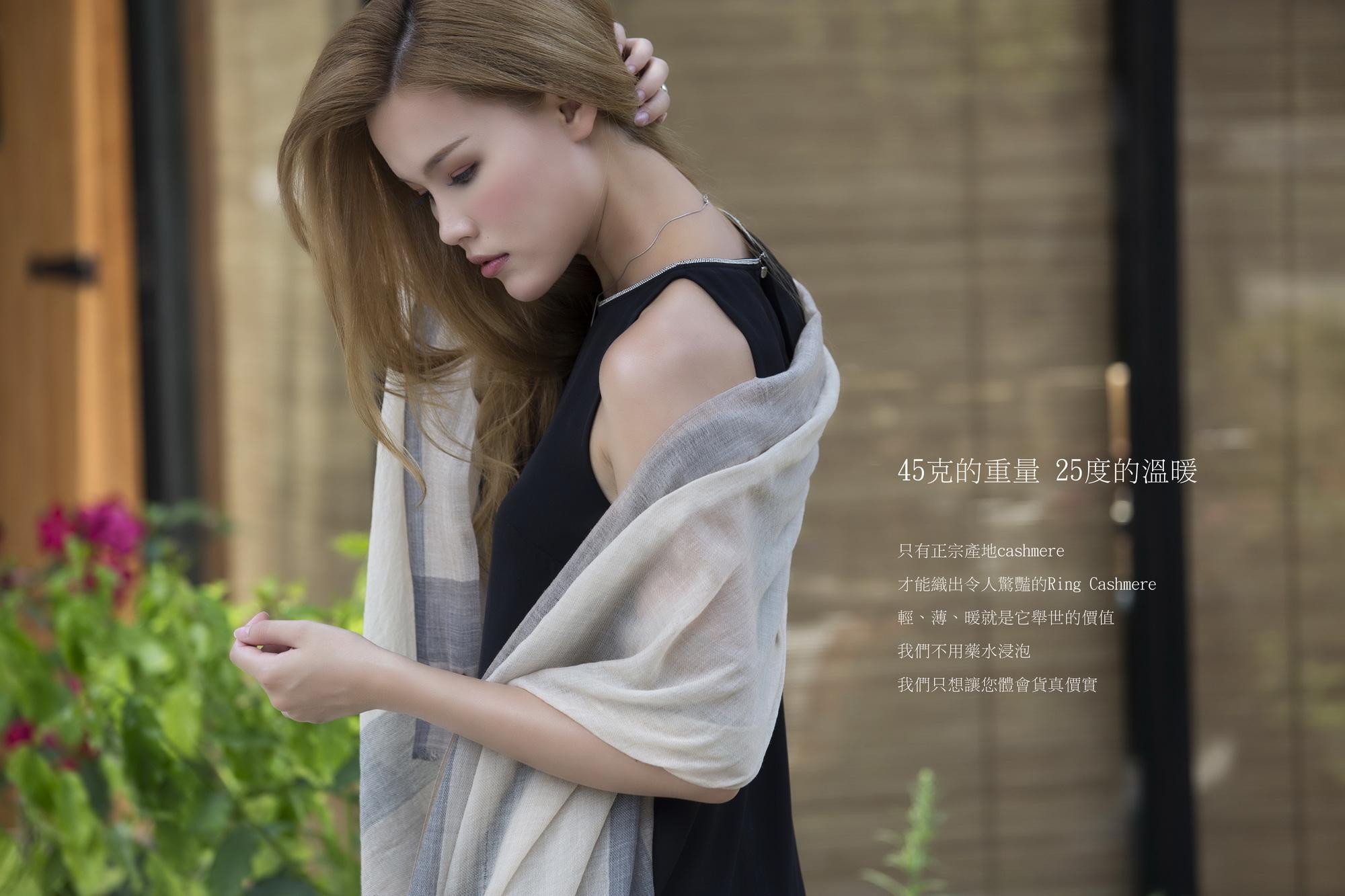 zentopia100%cashmere超薄穿戒圍巾