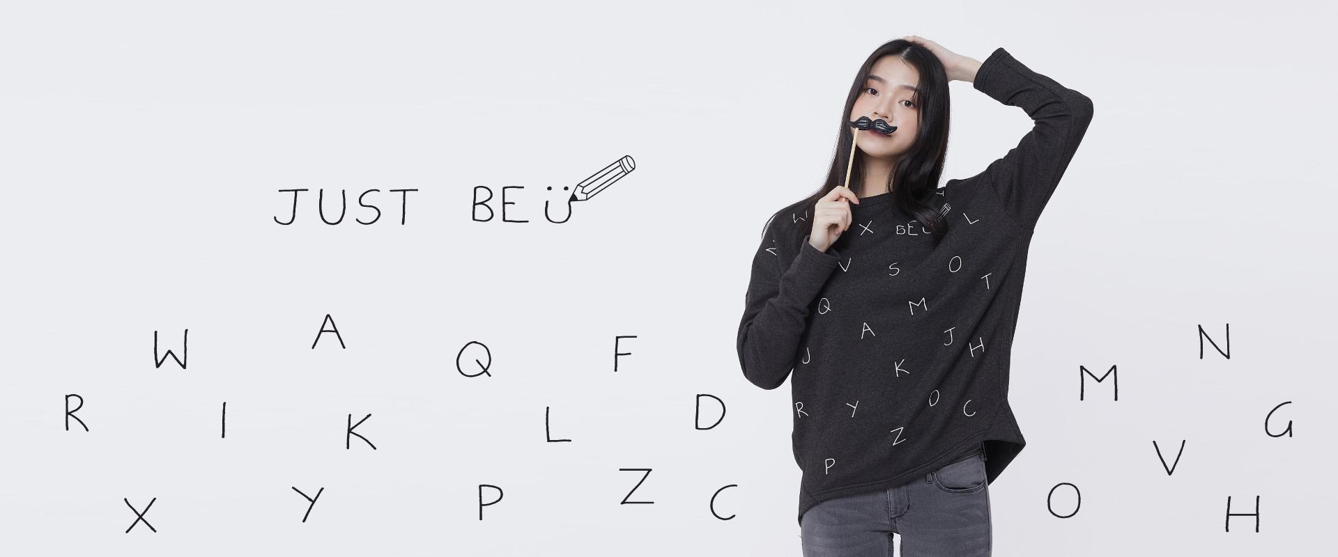 Be U字母長袖寬版女T