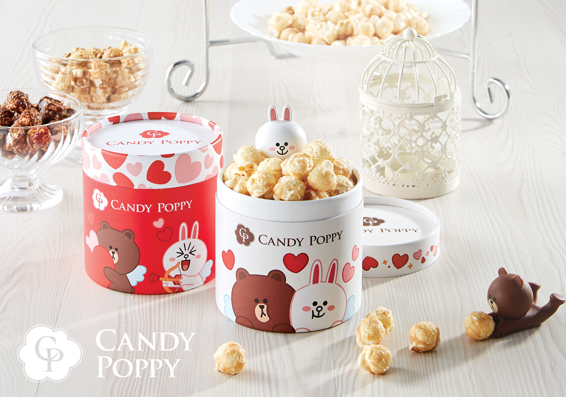 CANDYPOPPY和LINE FRIENDS的限量聯名婚禮小物爆米花罐