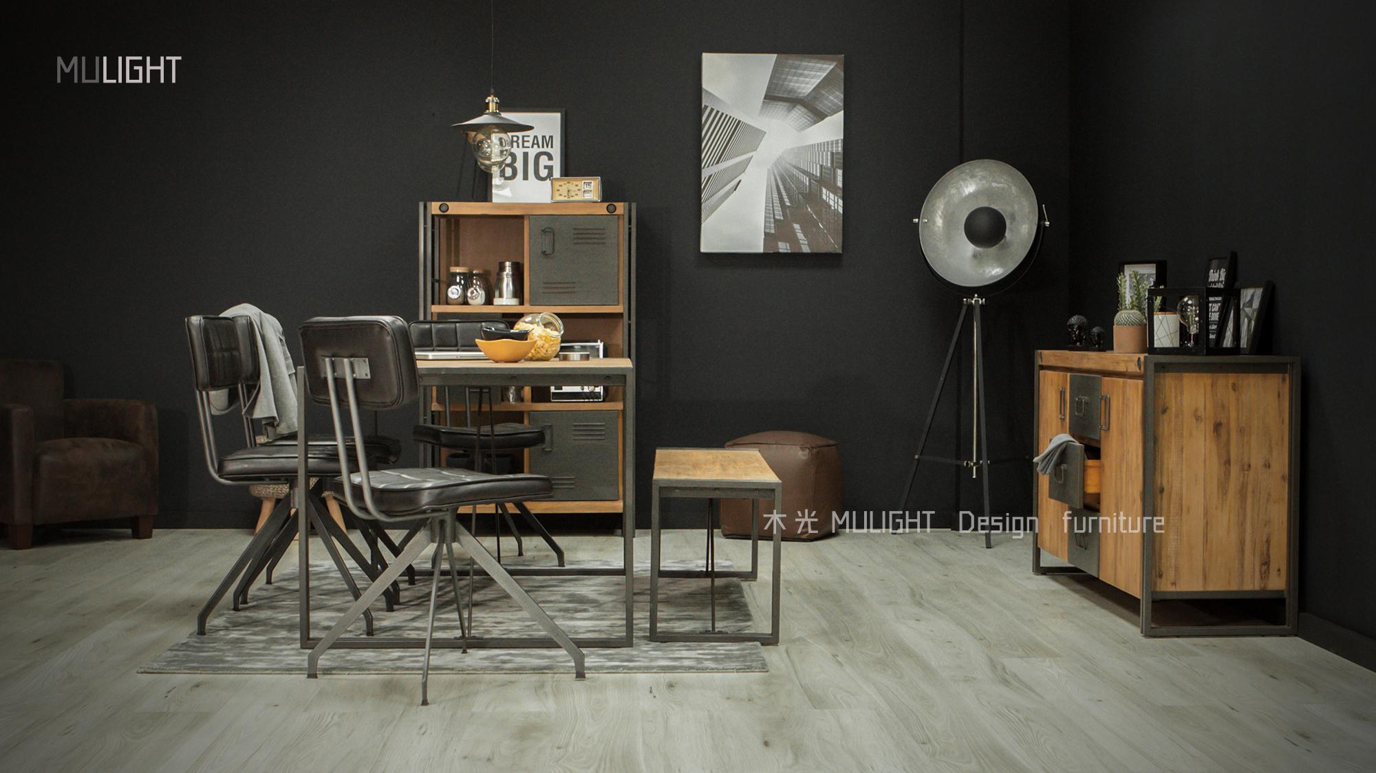 CIT-雙格實木鐵藝系列餐桌/餐廳