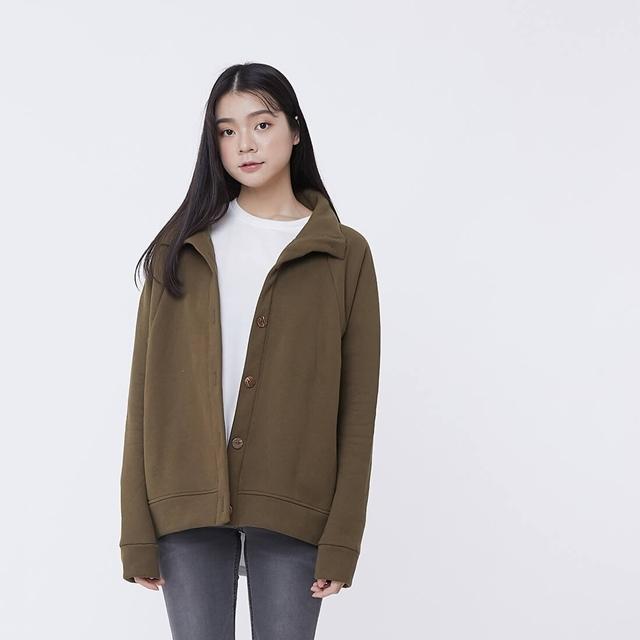 獨厚暖身厚磅刷毛純棉高領外套/欖綠