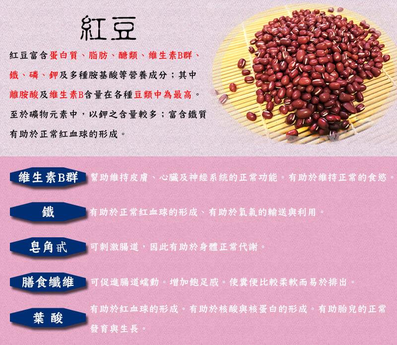 萬丹鮮紅豆 維生素B群 鐵 膳食纖維 葉酸