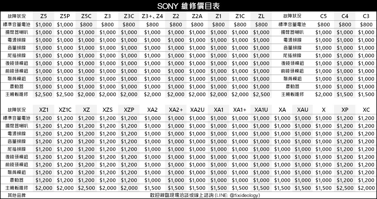 Sony維修價目表,Sony手機維修,Sony維修中心,Sony電池更換,索尼維修