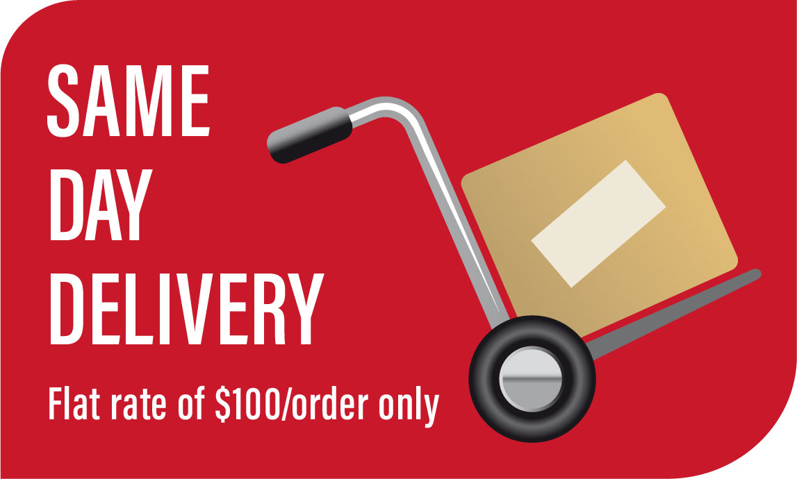 Place your order before 10:30am to enjoy same day delivery.