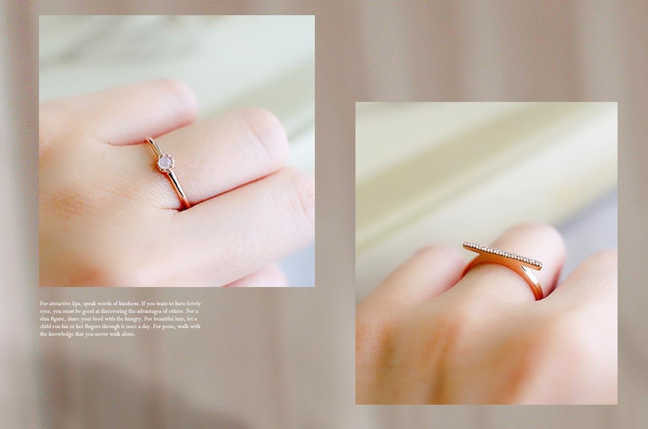 玫瑰色月光純銀戒指