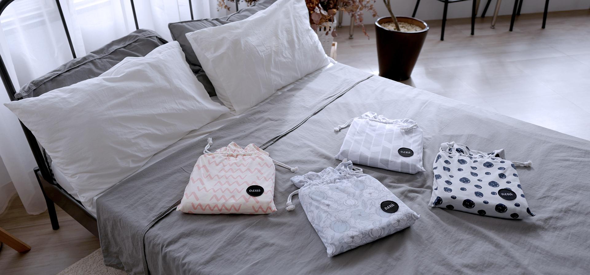 旅行床組,手繪圈圈,幾何線條,粉紅鋸齒,睡眠神器