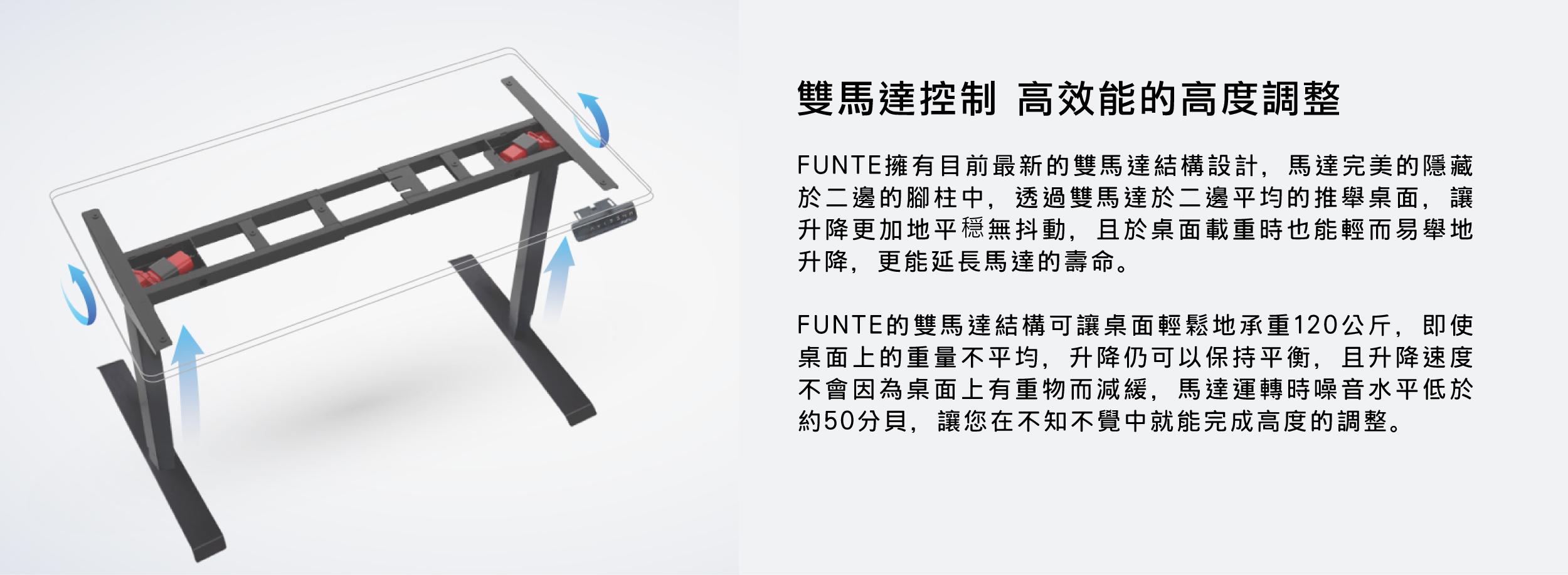 funte電動升降桌,站立工作桌,升降桌,雙馬達,載重120kg