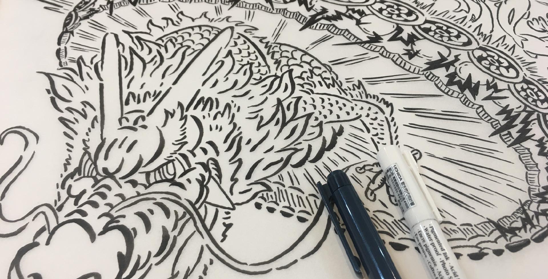 鯉魚躍龍門圖案的黑白稿