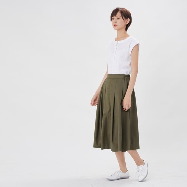 Lyla 棉質過膝口袋褶子圓裙/橄綠