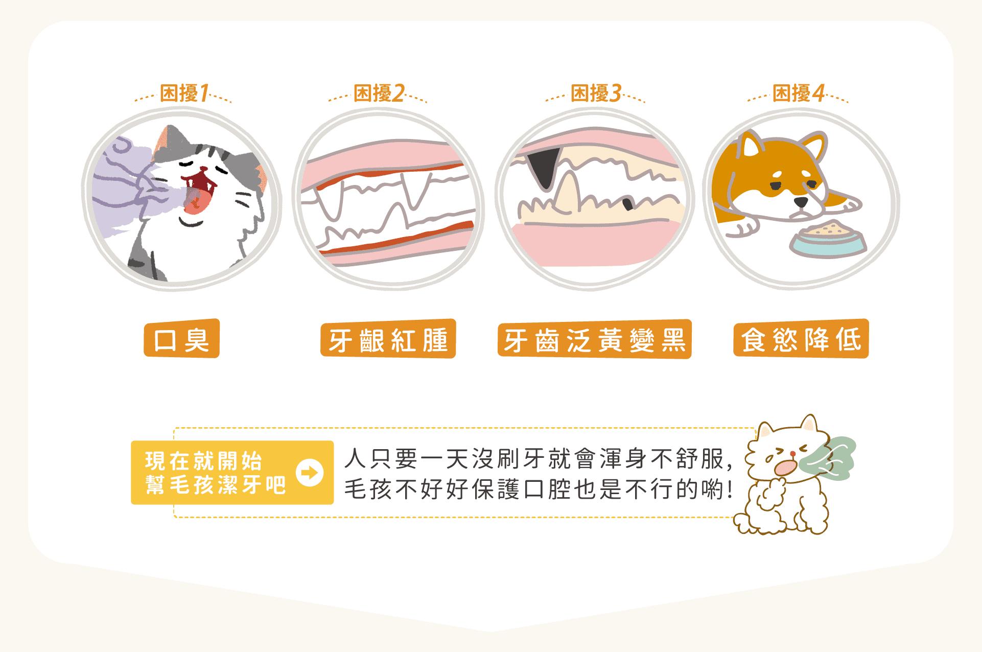 毛孩口臭、寵物牙齦紅腫、牙齒泛黃變黑、食慾降低等困擾,就靠幫毛孩潔牙來解決。人類只要一天沒刷牙就會渾身不舒服,毛孩不好好保護口腔也是不行的喲!