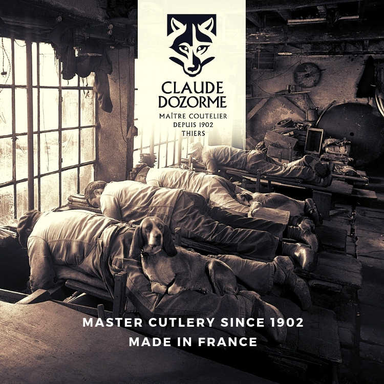 historic photo of Claude Dozorme master Cutlery taken in their workshop in Thiers City in France