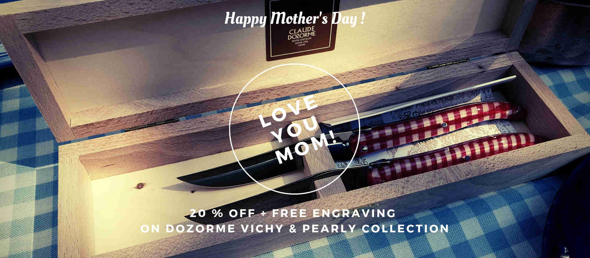 Claude Dozorme box of 2 Laguiole steak knives Vichy handle free engraving for Mother's day