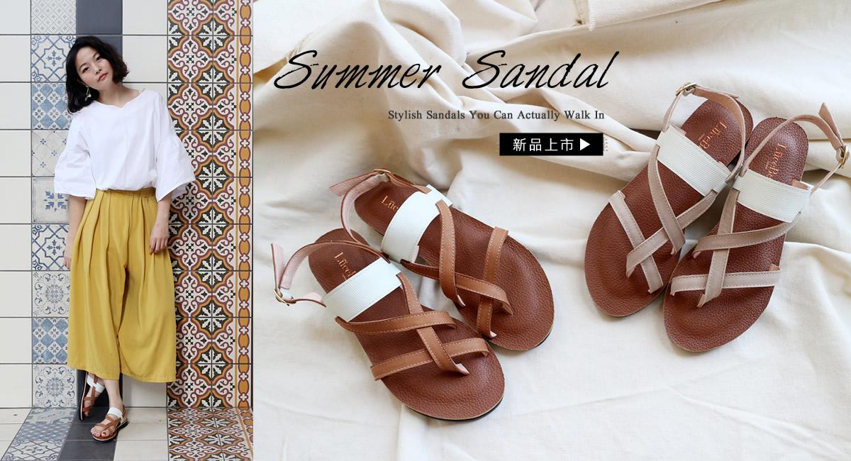 十里南方-全真皮羅馬涼鞋-棕色
