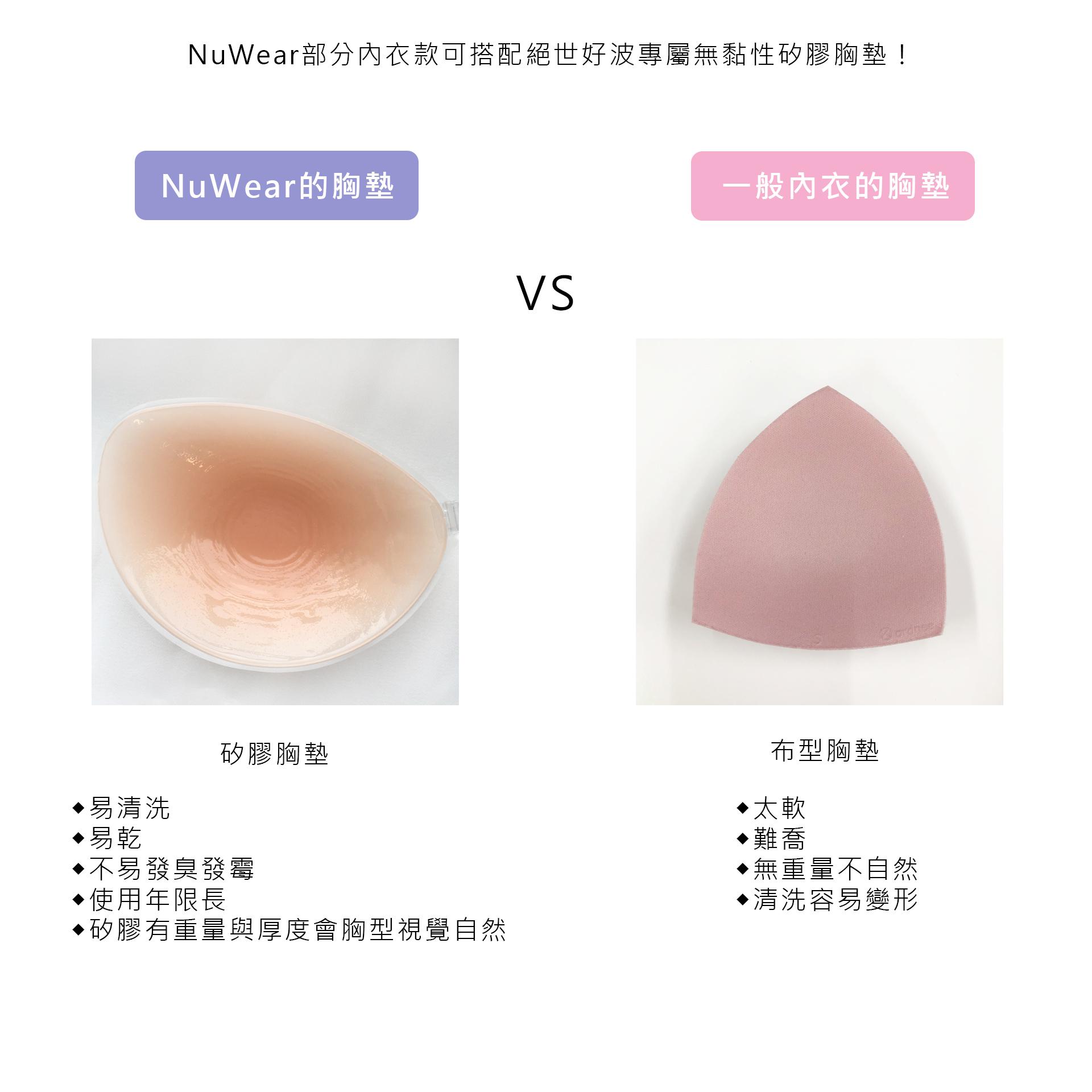 NuBra,NuWear,絕世好波,內衣,內睡衣,新品,好穿,比較,矽膠胸墊,傳統襯墊,布面胸墊,胸墊比較,NuBra好處,NuWear優點,NuWear好處