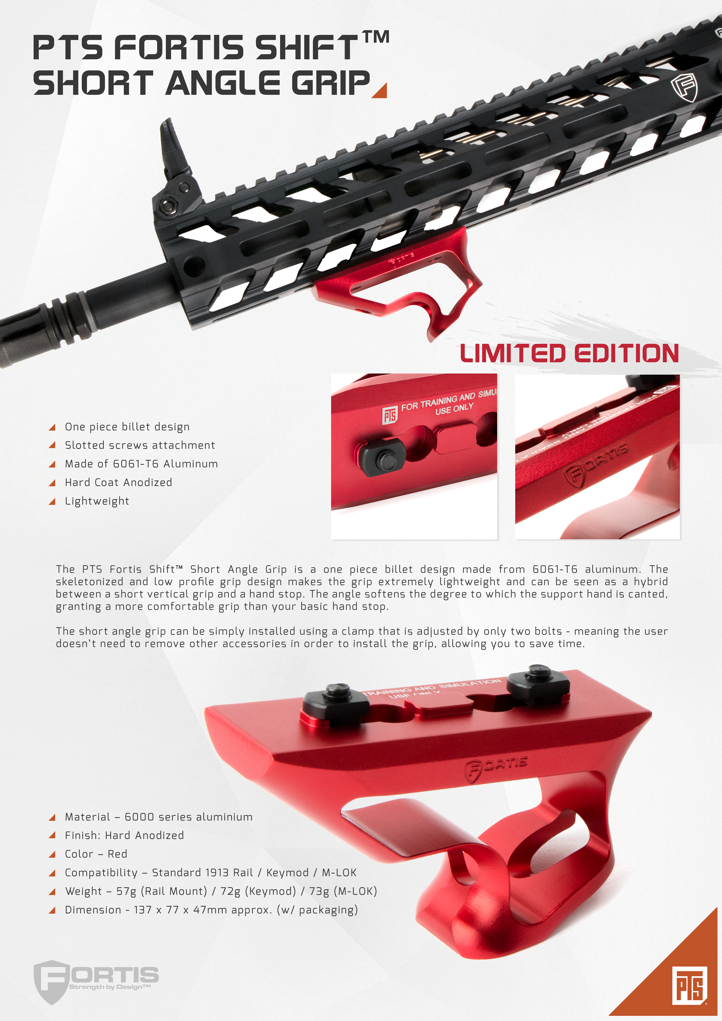 PTS Fortis Shift™ Short Angle Grip M-Lok Red Limited Ed