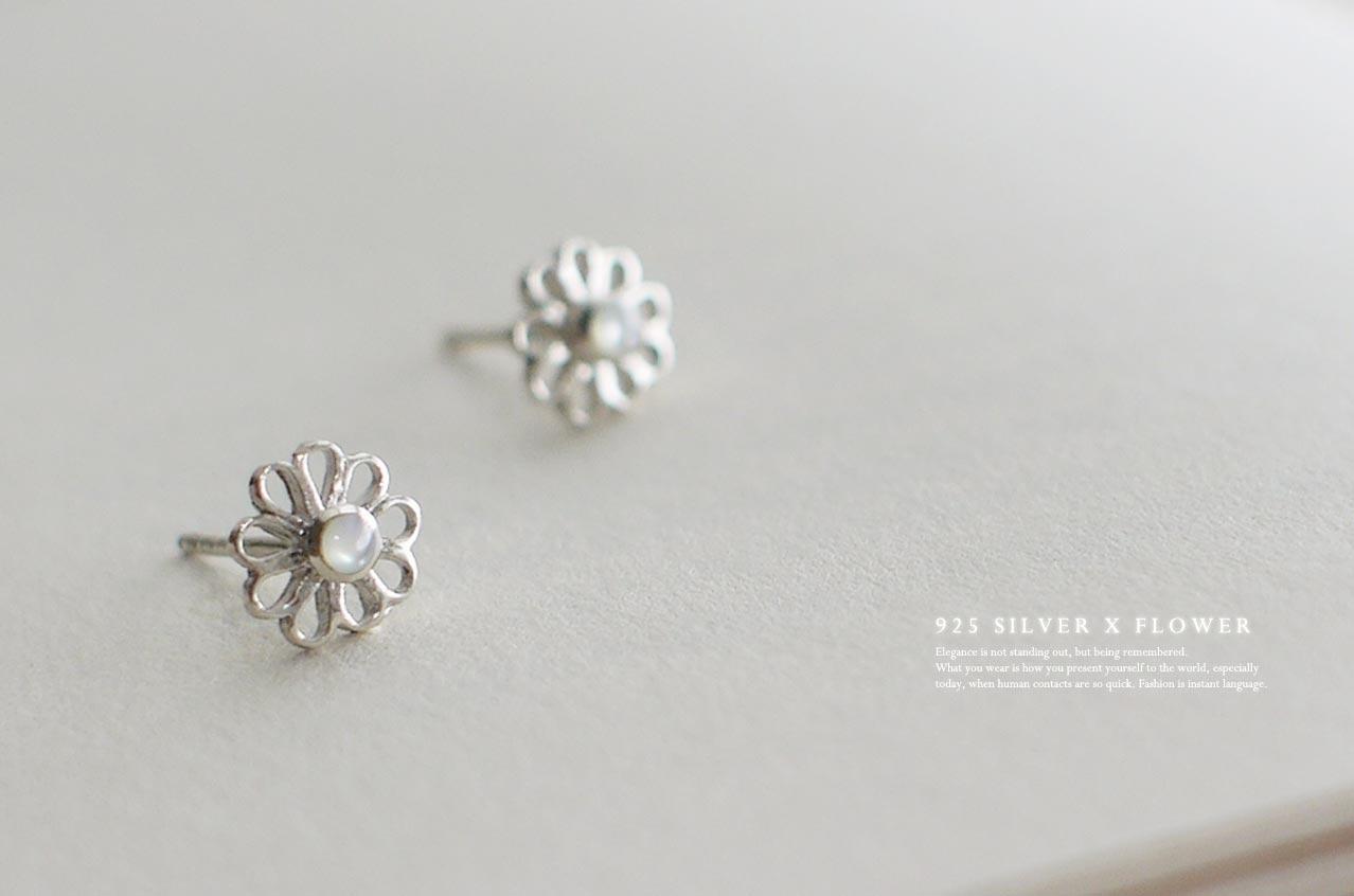月光下的花園純銀耳環