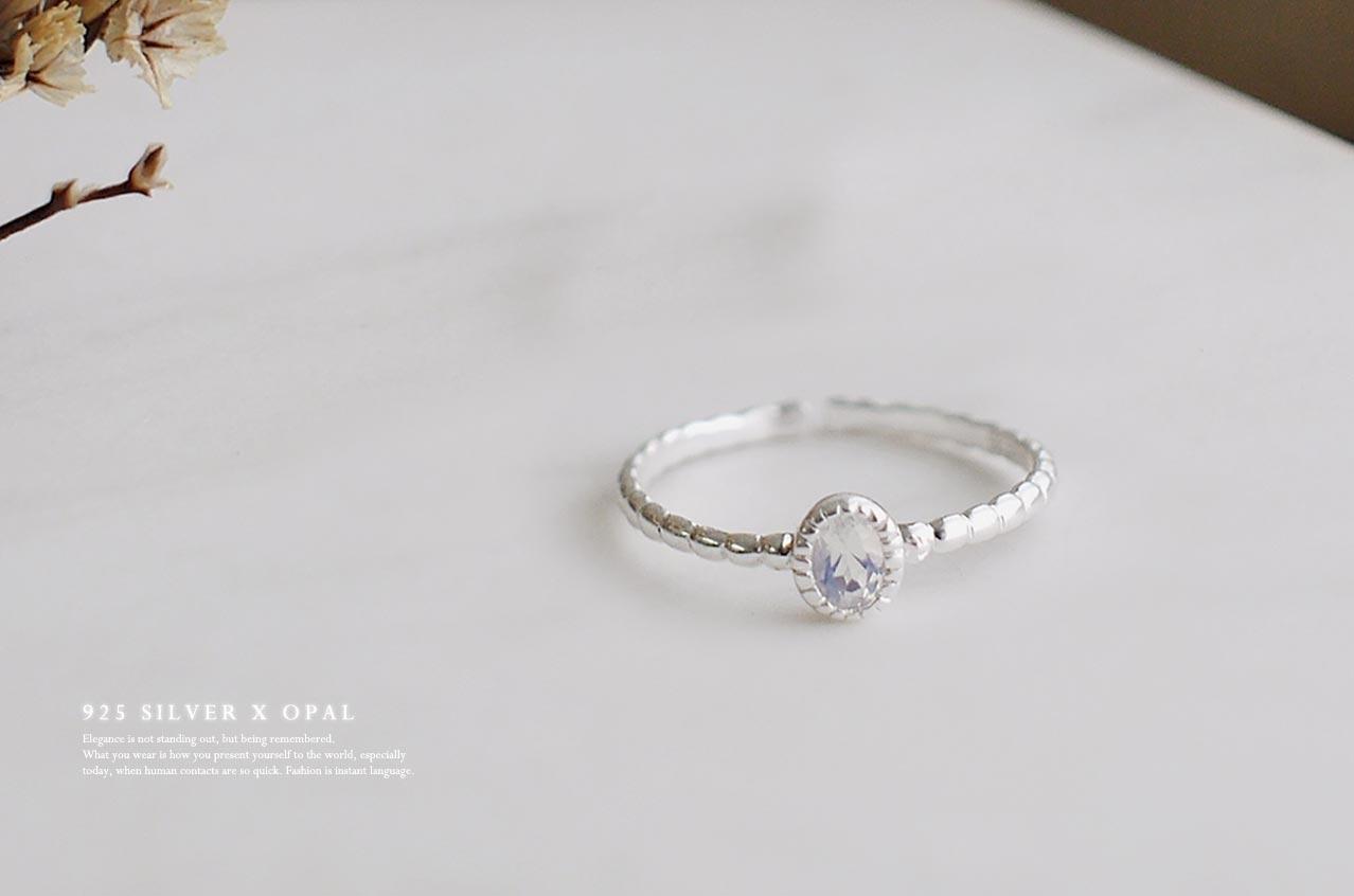 寧靜純銀戒指(蛋白石)