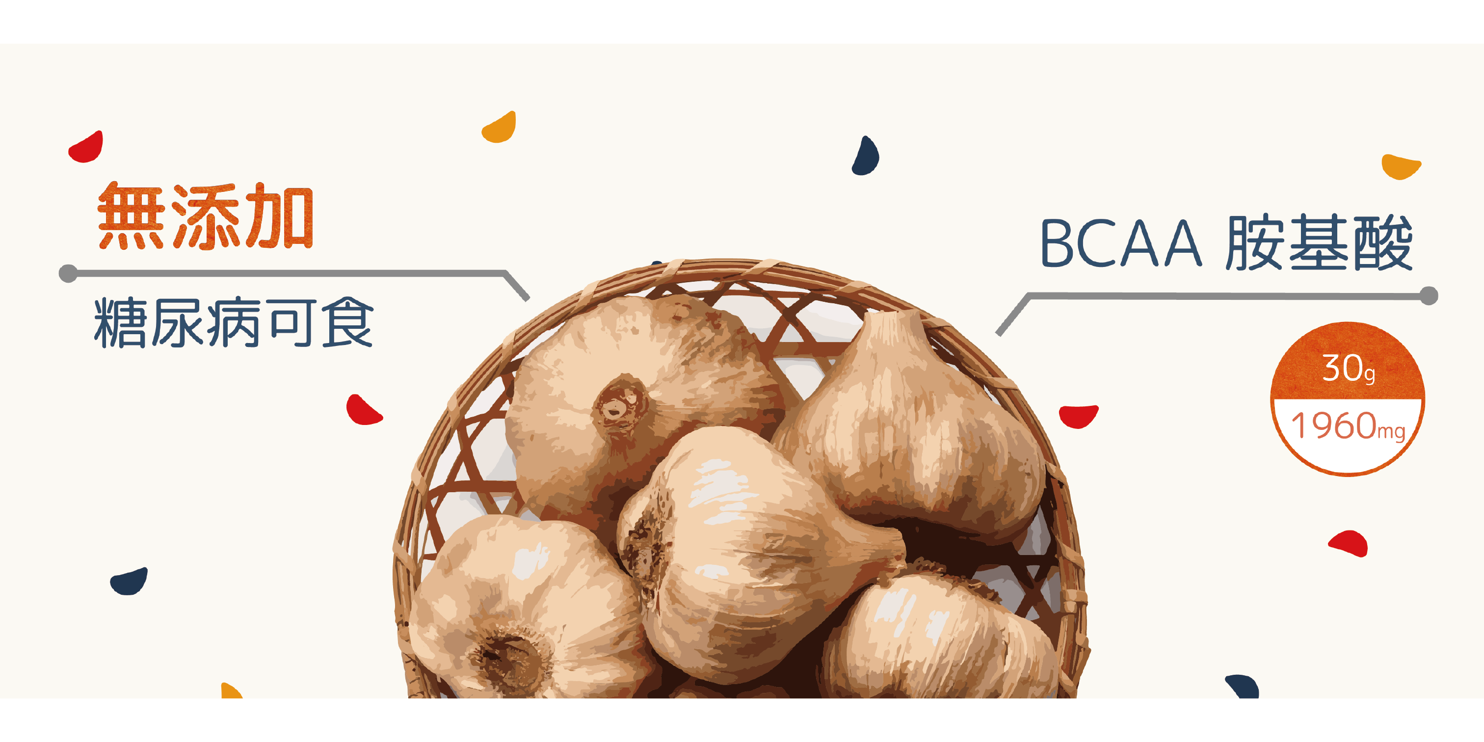 黑蒜頭營養圖標,糖尿病可食、BCAA胺基酸豐富