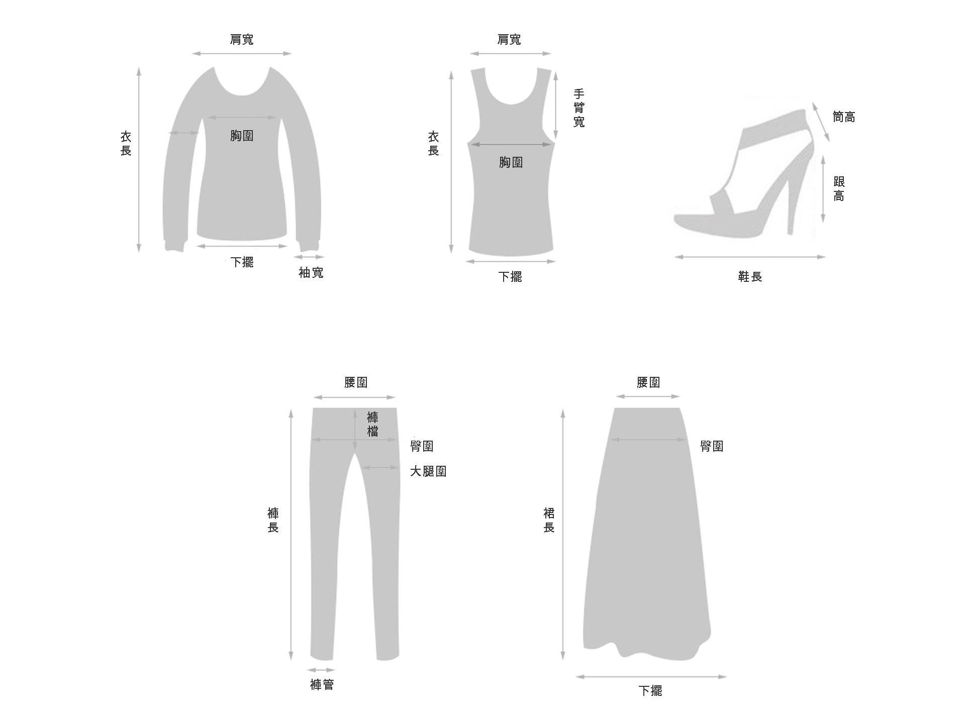 尺寸皆為平放丈量,單位為公分,正負約有2~3cm誤差。