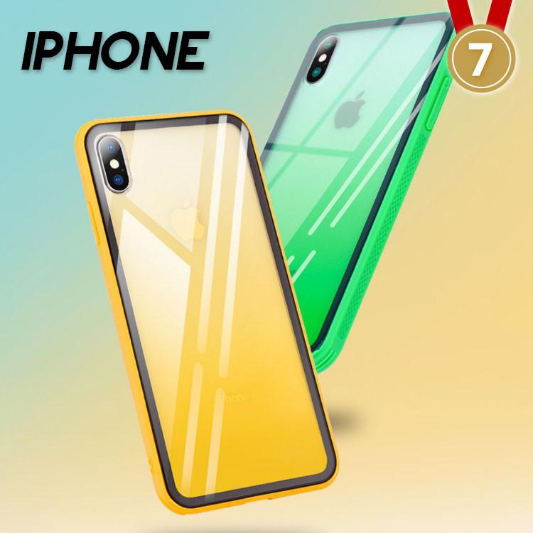 IPHONE X/XS/XS MAX/XR/8/7系列 絢麗多彩漸變防滑紋理鋼化玻璃手機殼(六色)【CAS606】