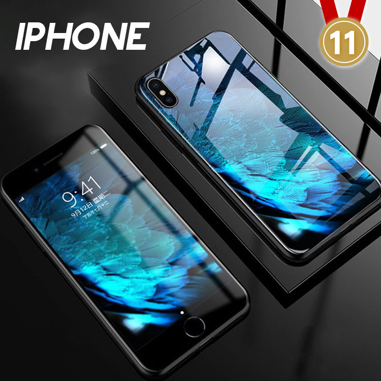 IPHONE X/XS/XS MAX/XR/8/7/6系列 夜光彩繪防摔鋼化玻璃手機殼(七色)【RCAS581】