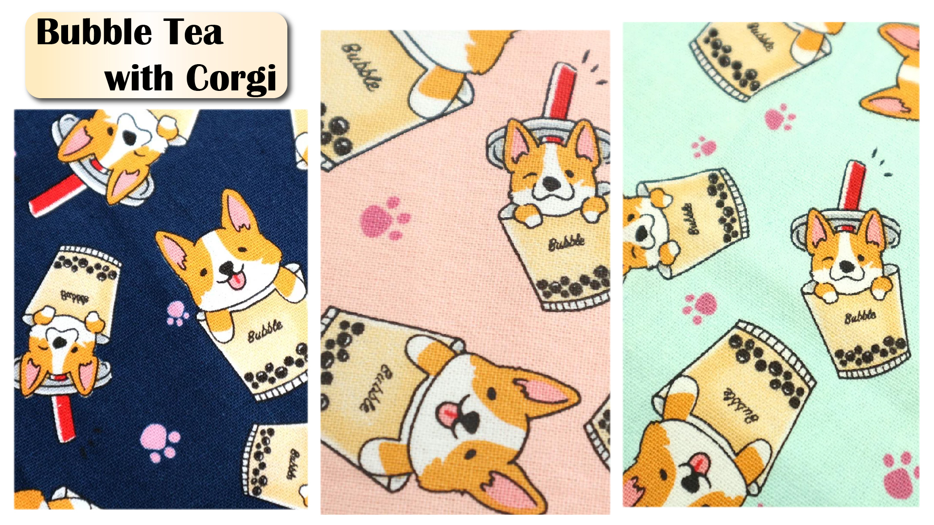 handmade taiwanfabric cottonfabric cute printing corgi bubblet ea