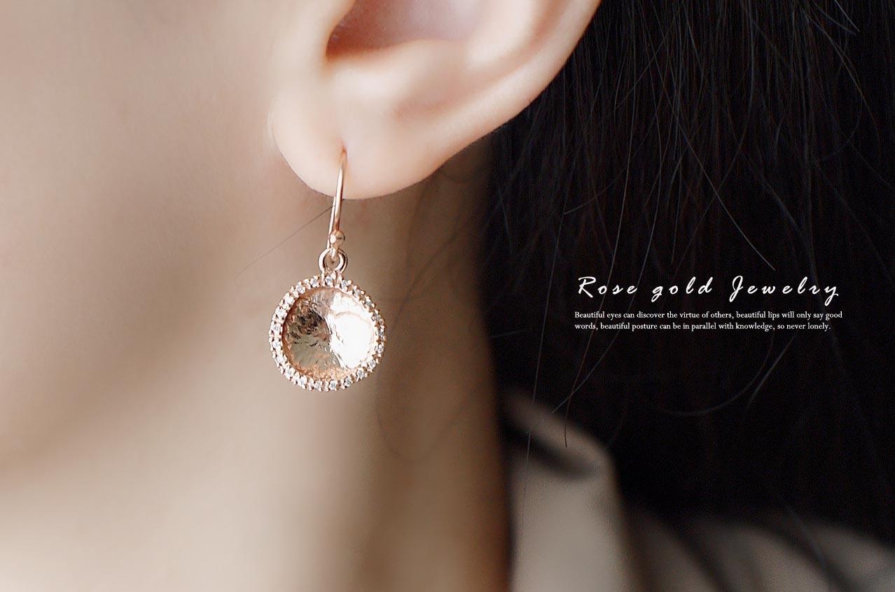 太陽純銀耳環(玫瑰金)