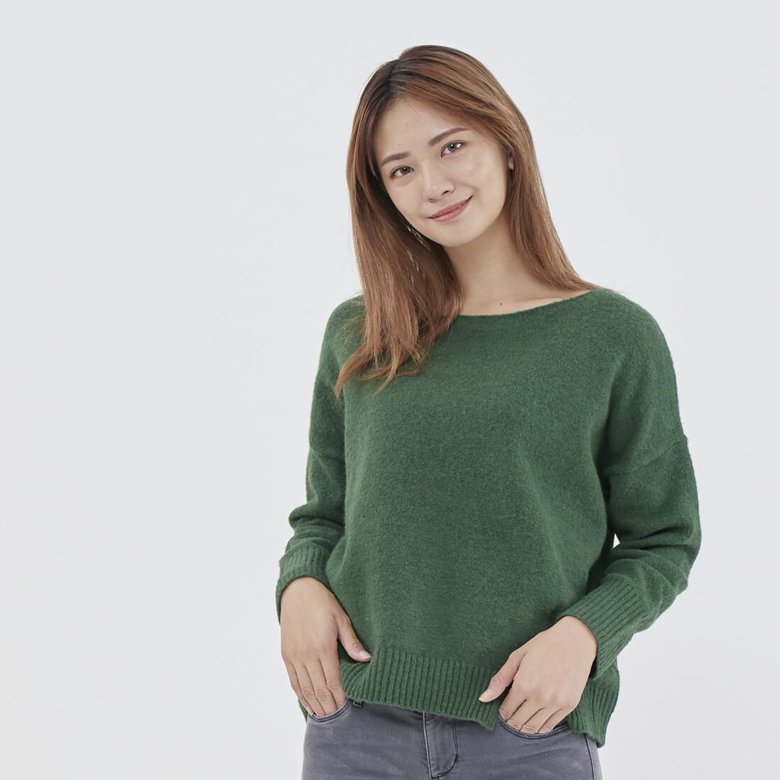 冬日毛衣Tess寬鬆一字領針織上衣/綠