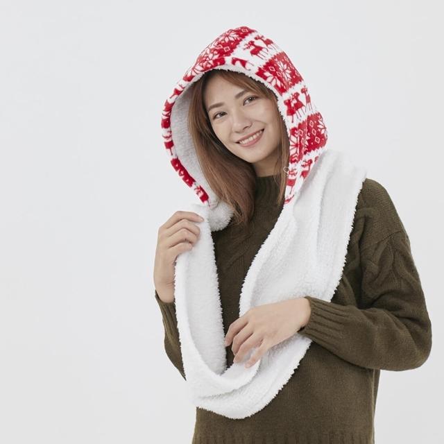 Yuki雪精靈連帽脖圍/歡樂紅