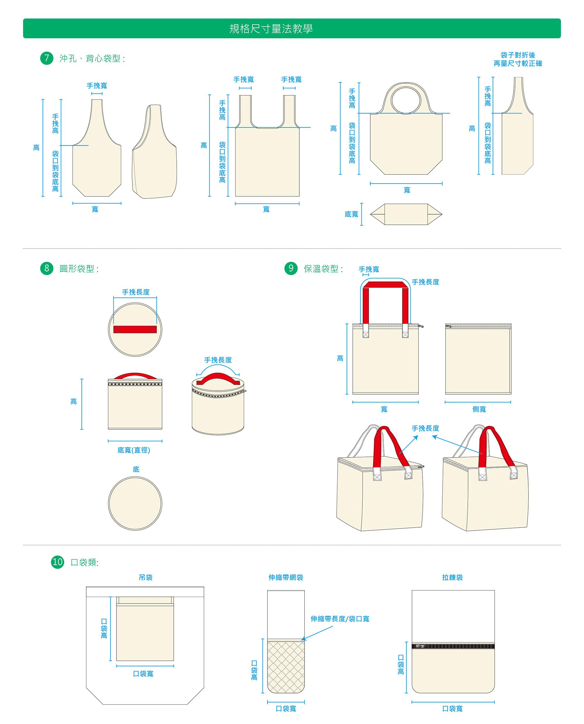環保袋手提袋尺寸丈量方式2