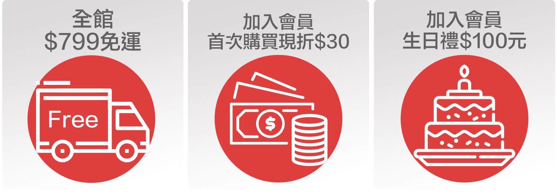 全館 799免運 加入會員 首次購買現折30 生日禮$100