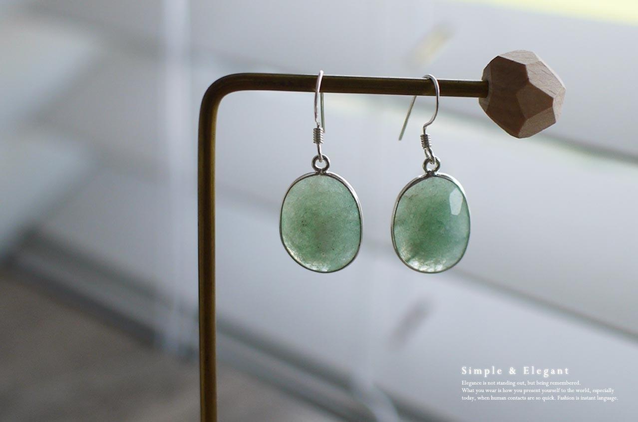 綠柱石原礦純銀耳環