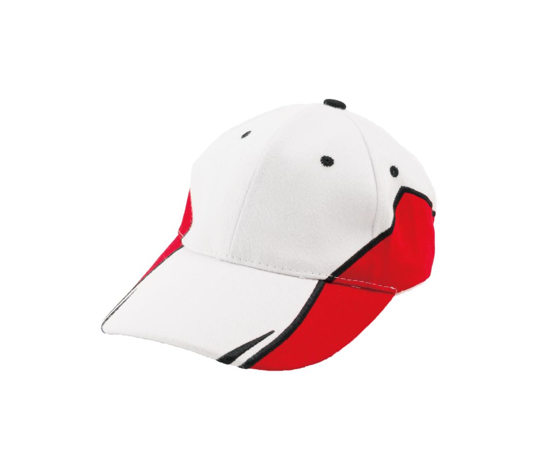 台灣製白紅色賽車帽 - 白色為主色,兩側為紅色塊
